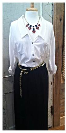 button down with maxi skirt