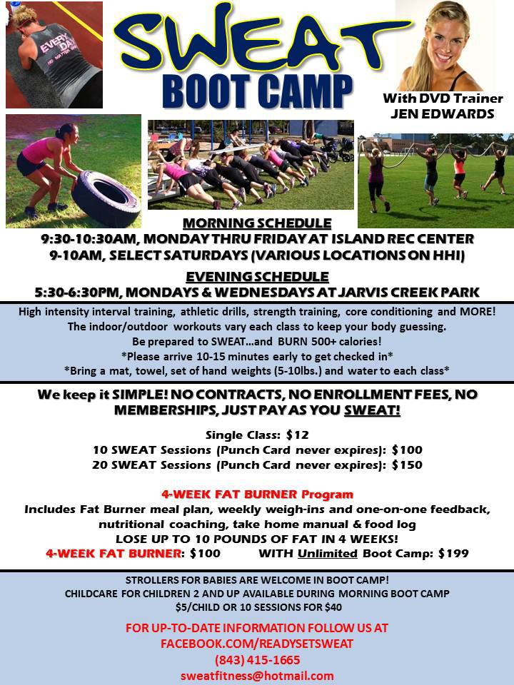 SWEAT boot camp schedule and pricing